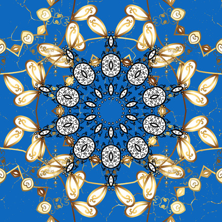 Classic vector blue and golden pattern. Traditional orient ornament. Classic vintage background.