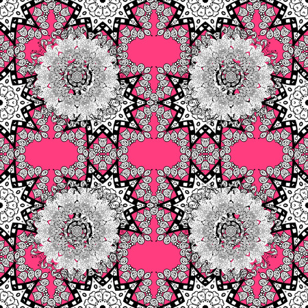 Seamless oriental ornament in the style of baroque. White pattern on pink background with white elements. Traditional classic white pattern. Vector oriental ornament.