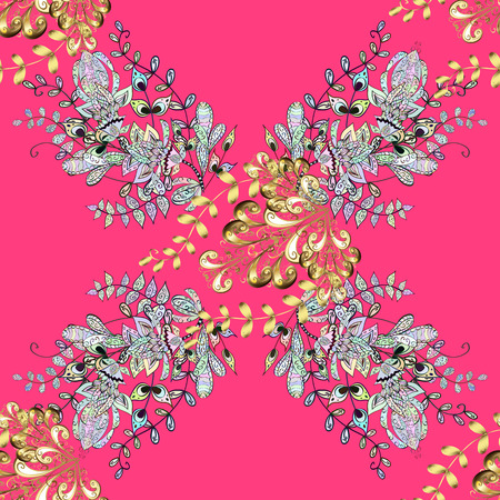 Seamless pattern on pink background with golden elements and with white doodles. Seamless Golden pattern. Vector oriental ornament. Illustration