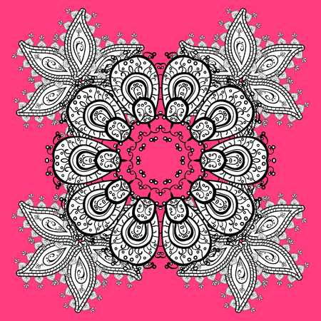 Elegant vector classic pattern. Abstract background with repeating elements. Pink and white and doodles pattern. Illustration