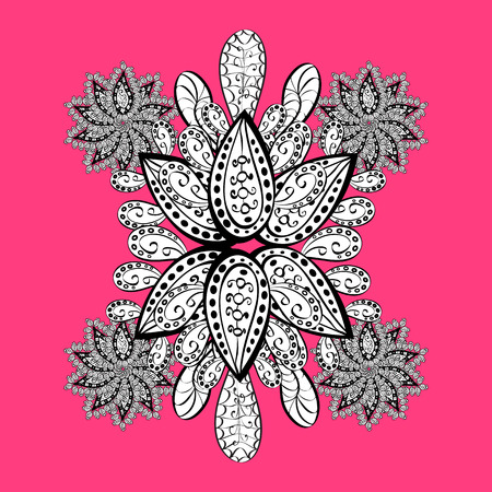 Vintage pattern on pink and white background with white elements and with white doodles. Christmas, snowflake, new year. Illustration