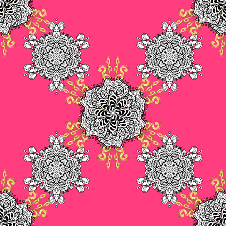 Pink background with white elements. Seamless pattern. Metal with floral pattern. Vector white floral ornament brocade textile pattern, white doodles.