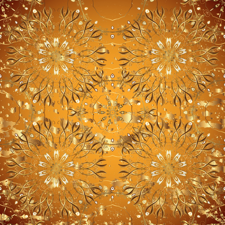 Vector golden pattern. Oriental style arabesques. Colored pattern on yellow background with golden elements. Golden textured curls.