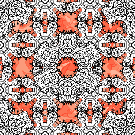 Vector white pattern. Seamless textured curls. Oriental style arabesques white pattern on a background with white elements.