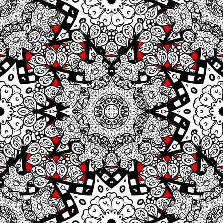 Modello senza cuciture per libro da colorare per adulti. Doodle floreale Etnico, floreale, retrò, doodle, vettoriale, elemento di design tribale. Stile Zentangle. Sfondo rosso