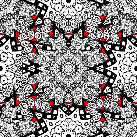Seamless pattern for adult coloring book. Floral doodle. Ethnic, floral, retro, doodle, vector, tribal design element. Zentangle style. Red background. Illustration