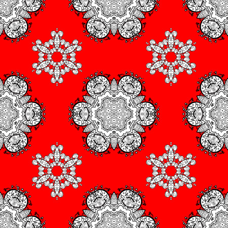 Christmas white snowflake seamless pattern. Golden snowflakes on red background. Winter snow texture sketch. Symbol holiday, New Year celebration vector white pattern. Illustration