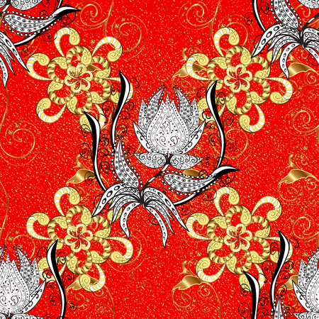 Golden element on red background. Antique golden repeatable sketch. Gold floral ornament in baroque style. Damask repeating pattern.