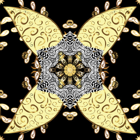 Damask golden floral pattern on a black background with white doodles. Ornate decoration. Vector illustration.