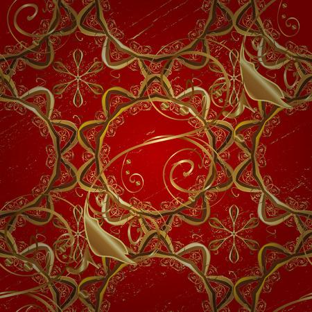 attern: Golden textured curls. Oriental style arabesques. Vector golden pattern. ?attern on red background with golden elements.