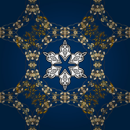 Good for greeting card for birthday, invitation or banner. Seamless pattern medieval floral royal pattern. Vector illustration. Gold on blue background. Decorative symmetry arabesque. Illustration