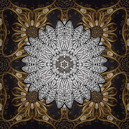 drapes: Classic oriental background with white doodles. Damask ornament. Traditional vector and golden pattern.