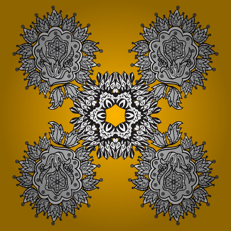 Vintage design element in Eastern style. Vector with floral ornament. Ornamental lace tracery. White ornate illustration for sketch. Traditional arabic decor on yellow and white background.