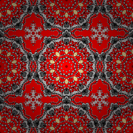 Seamless oriental ornament in the style of baroque. Golden pattern on red background with white elements. Traditional classic white pattern. Vector oriental ornament. Illustration
