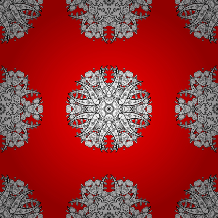 Damask seamless repeating pattern. Gold floral ornament in baroque style. Antique whiteen repeatable sketch. Golden element on red background.