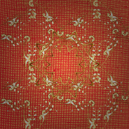 openwork: Pattern on red background with golden elements. Vector. Golden texture curls. Brilliant lace, stylized flowers, paisley. Openwork delicate golden pattern. Oriental style arabesques.
