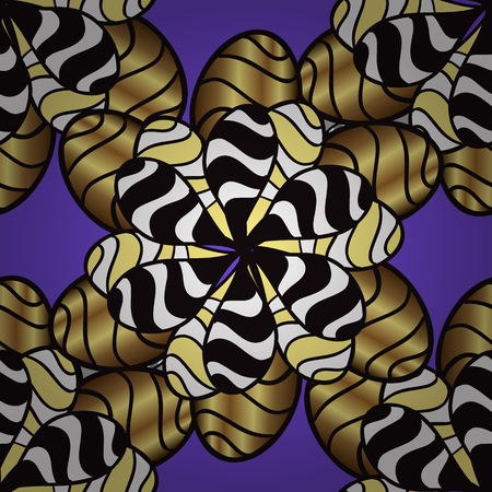 Seamless oriental ornament in the style of baroque. Traditional classic golden vector pattern on violet background with golden elements.