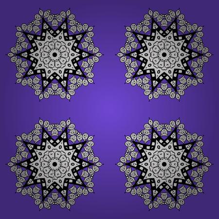 Damask floral pattern on a violet and white background with doodles. Ornate decoration. Vector illustration. Illustration