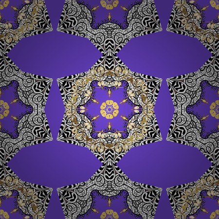 Traditional orient ornament. Seamless classic vector golden pattern. Golden pattern on violet background with golden elements. Classic vintage background. Illustration