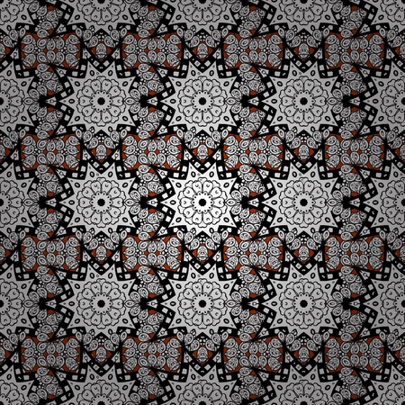 Seamless oriental ornament in the style of baroque. Traditional classic white pattern. Vector oriental ornament. Golden pattern on background with white elements.