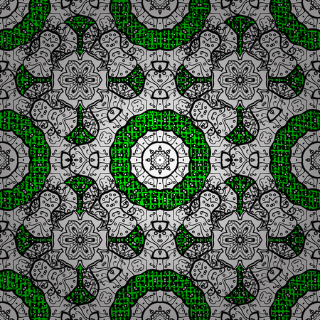 Openwork delicate pattern. Vector. Oriental style arabesques. ?attern on green and white background with white elements. White texture curls. Brilliant lace, stylized flowers, paisley.