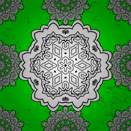 Classic vector white pattern. Pattern on green and white background with white elements. Traditional orient ornament. Classic vintage background.