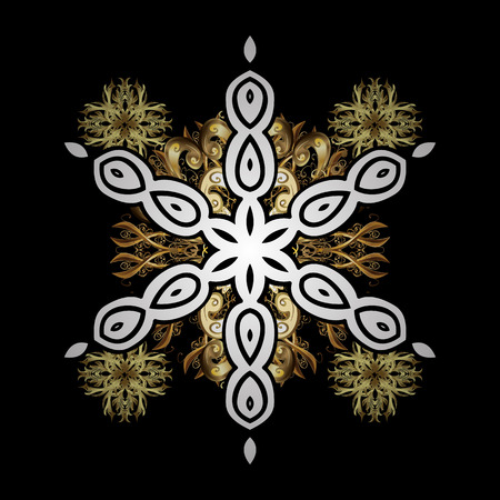 Classic vector golden pattern. Floral ornament brocade textile pattern, glass, metal with floral pattern on black background with golden elements. Illustration
