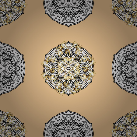 Vector vintage baroque floral seamless pattern in gold. Ornate decoration. Luxury, royal and Victorian concept. Golden pattern on beige background with golden elements.
