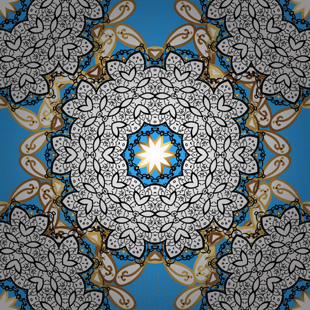 On blue background with golden elements. Golden texture curls. Oriental style arabesques. Brilliant lace, stylized flowers, paisley. Openwork delicate golden pattern. Vector illustration. Illustration
