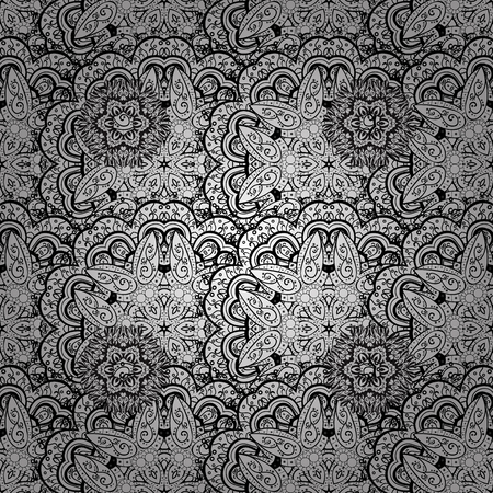 Seamless oriental ornament in the style of baroque. Traditional classic white vector pattern on pink background with white elements. Векторная Иллюстрация