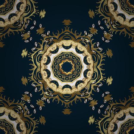 Vintage seamless pattern on a blue background with golden elements. Vector illustration. Illustration