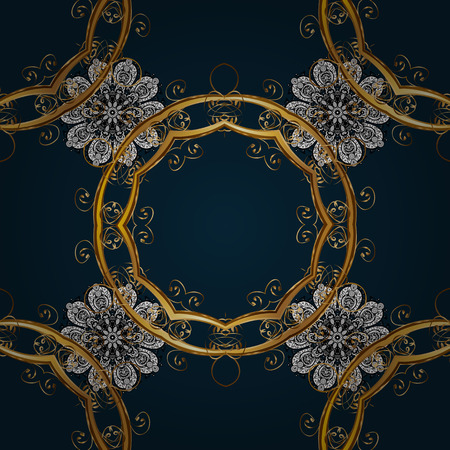 Gold Sketch on texture background. Damask seamless pattern repeating background. Gold blue floral ornament in baroque style. Golden element on blue background.