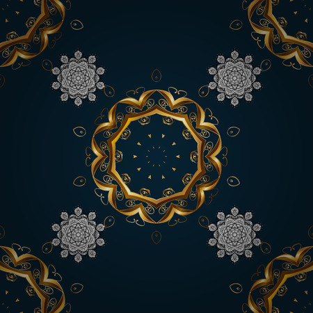 corona navidad: Vector illustration. Damask golden floral pattern on a blue background with white doodles. Ornate decoration.