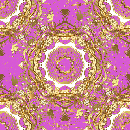 Oriental style arabesques. Golden textured curls. Pink background with golden elements. Vector golden pattern.