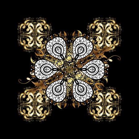 embellishment: Vector golden pattern. Golden textured curls. Oriental style arabesques. Background with golden elements. Vector illustration.