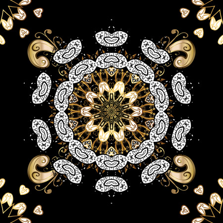 Luxury furniture. Carving. Small depth of field. Pattern on black background with golden elements. Element woodcarving. Furniture in classic style. Black tree with gold trim. Patina. Illustration