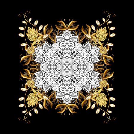 Damask classic white and golden pattern. Vector abstract background with repeating elements. Golden pattern on black background with golden elements.