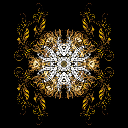 Element woodcarving. Furniture in classic style. Tree with gold trim. Patina. Carving. Small depth of field. Luxury furniture. Pattern on black background with golden elements.