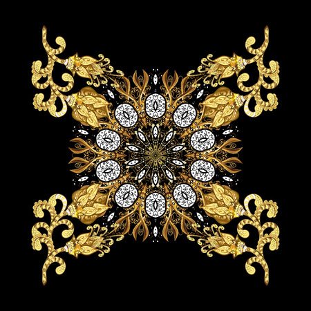 Medieval floral royal pattern. Decorative symmetry arabesque. Gold on black background. Good for greeting card for birthday, invitation or banner. Vector illustration. Illustration