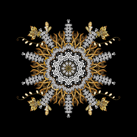 Vintage design element in Eastern style. Vector with floral ornament. Ornamental lace tracery. Golden ornate illustration for sketch. Traditional arabic decor on black background.