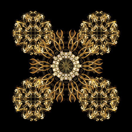 Abstract minimal isolated ornament background. Vector Golden snowflakes on black background.