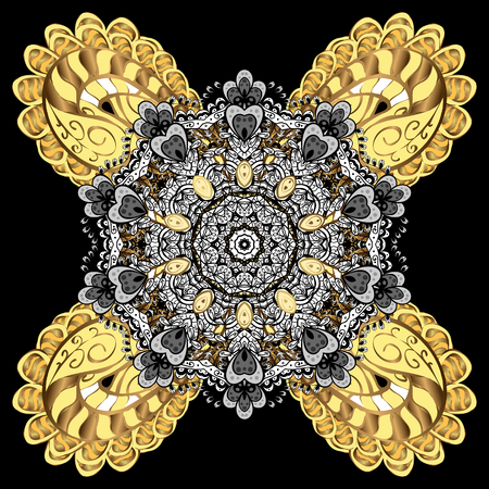 Oriental ornament in the style of baroque. Traditional classic vector golden. Background with golden elements. Illustration