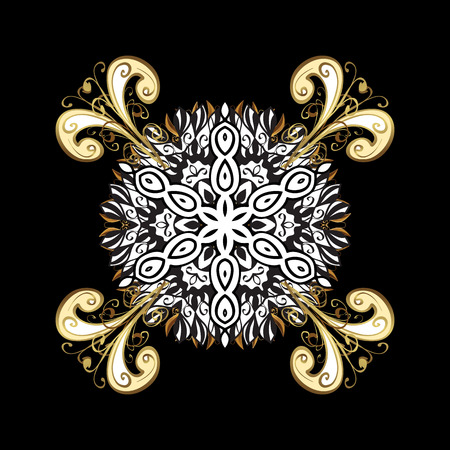 Vintage pattern on black background with golden elements and with white doodles. Christmas, snowflake, new year.