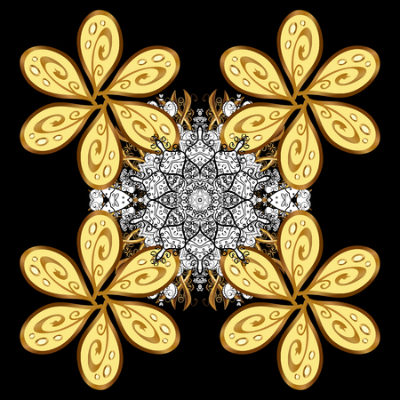 Damask for design. Vector on black background with golden elements and with white doodles. Vector illustration.