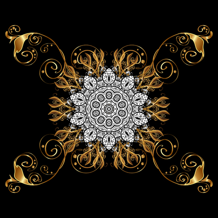 Vintage baroque floral in gold over. Ornate vector decoration. Luxury, royal and Victorian concept. Golden element on black background.