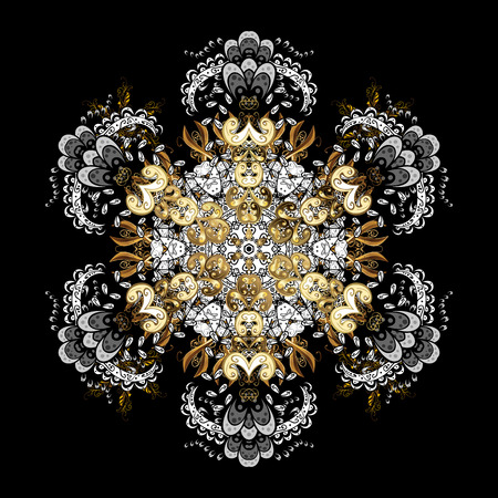 Oriental ornament in the style of baroque. Vector traditional classic golden pattern with white doodles on black background. Illustration