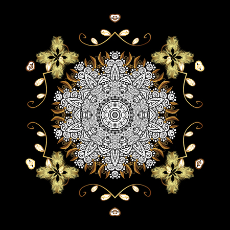 Golden texture curls. Vector oriental style arabesques. Brilliant lace, stylized flowers, paisley. Openwork delicate golden pattern. On black background with golden elements.