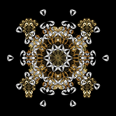 Classic vector and golden pattern. Traditional orient ornament with white doodles. Classic vintage background.