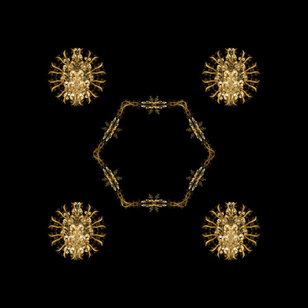 Abstract isolated with Floral Elements. Vector winter ornament. Isolated design on black background in golden colors.