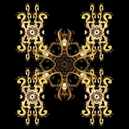 Gelukkig glimlachend sneeuwvlokken geïsoleerd ornament. Gouden sneeuwvlokken versierd met cirkels en stippen. Kerstmis en Nieuwjaar thema. Vector winter ontwerp op zwarte achtergrond.